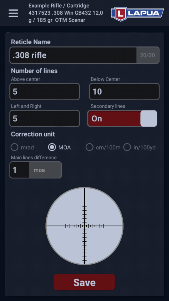 Create your reticle in Lapua Ballistics app